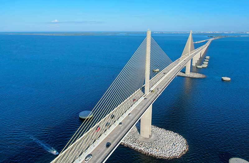 Sunshine Parkway Bridge in over stretching the water in Tampa Bay Florida