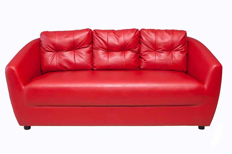 store this red leather sofa in climate-controlled storage units