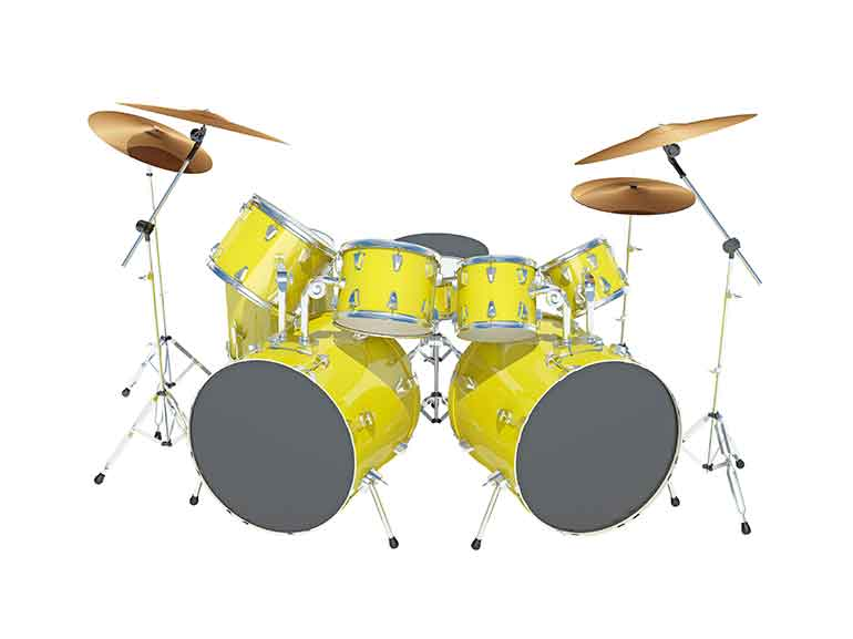 store this bright yellow drum set in a climate-controlled storage unit