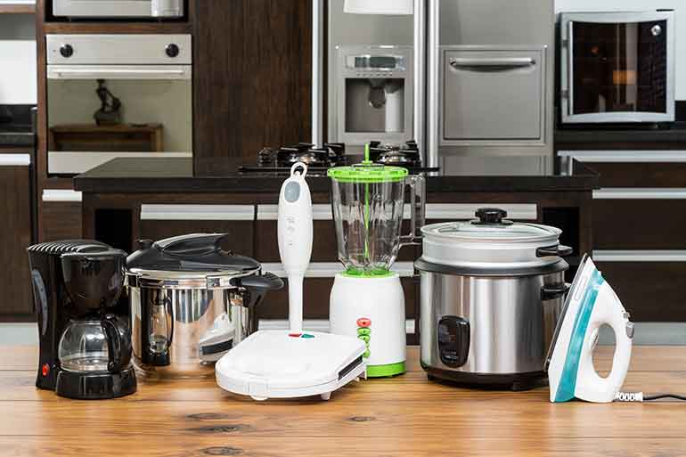 store small kitchen appliances like these in climate-controlled storage units