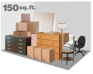 illustration of items placed in a 10X15 storage unit