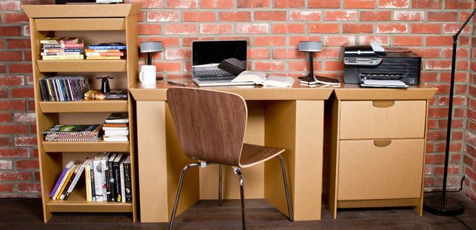 Desk made from Cardboard Moving Boxes