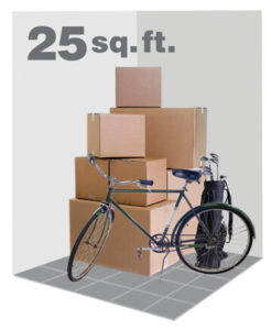 illustration of items placed in a 5X5 storage unit