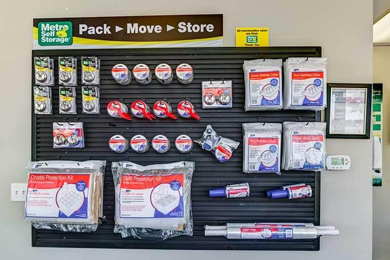 Beautiful moving supplies display at Metro Self Storage in Amarillo, Texas