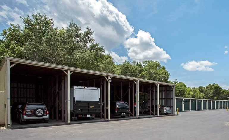 Covered vehicle parking at Metro Self Storage in Tampa, Florida