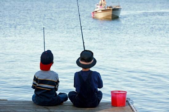Boys Fishing in Mound, MN