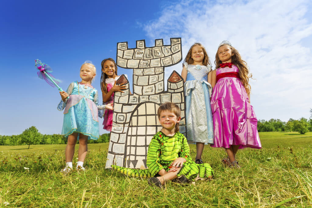 Cardboard Moving Box Castle with Children
