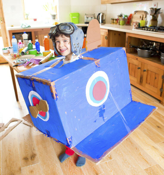 Cardboard Moving Box Plane with Child