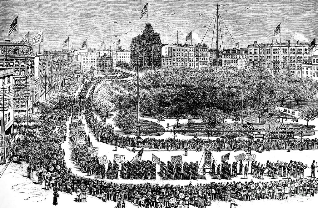 Illustration of Labor Day Parade in New York City 1882
