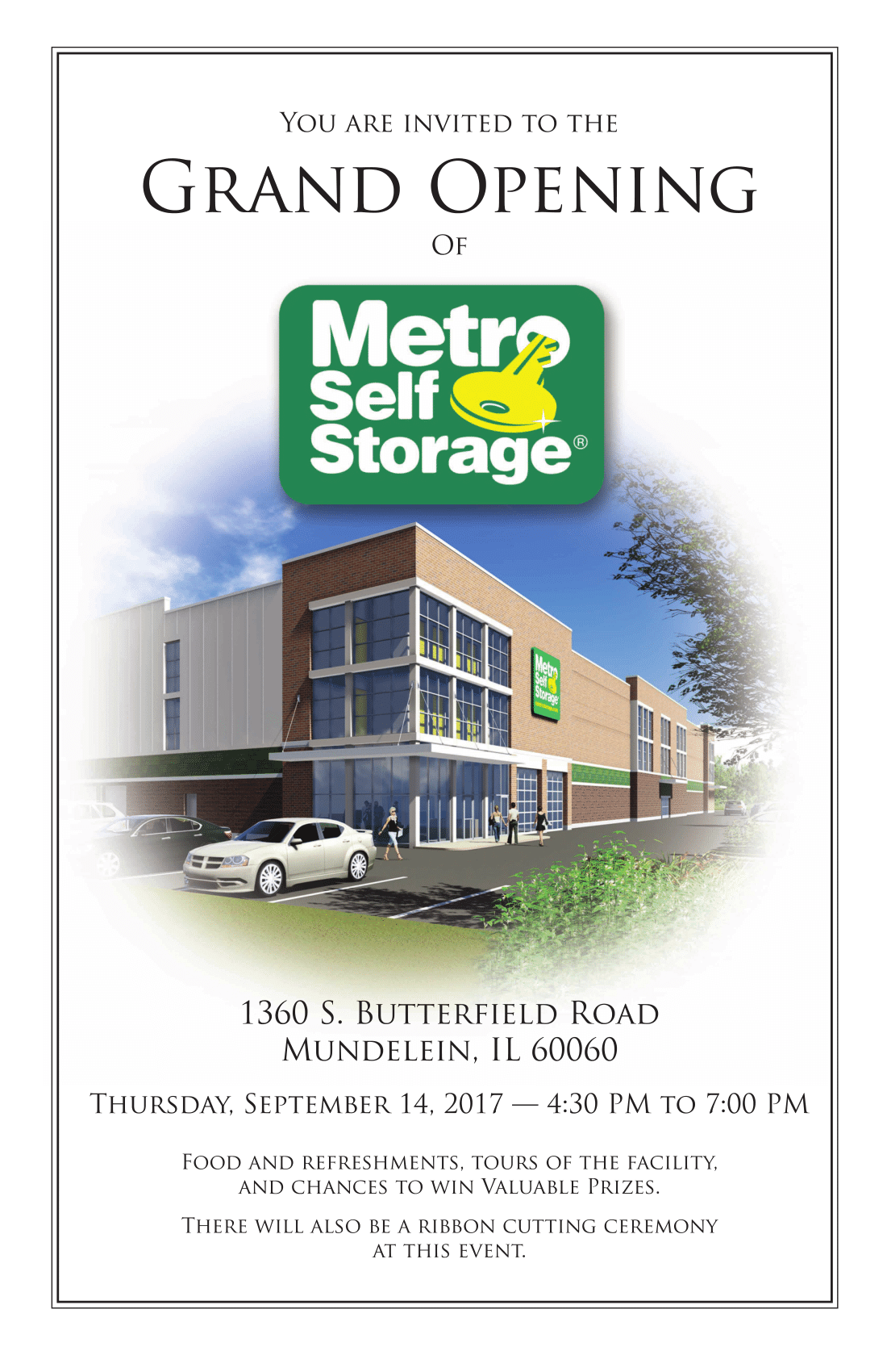 Metro Self Storage Build New Climate Controlled Storage Facility in Mundelein, IL Open House Invitation