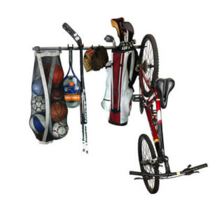 hanging bike and accessory rack for garage storage solutions