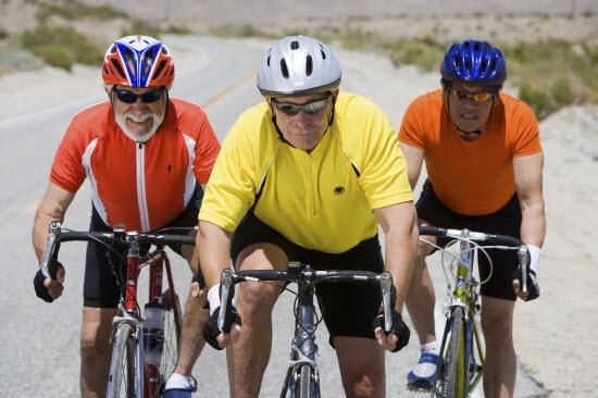 Senior men riding bikes in Midland, TX