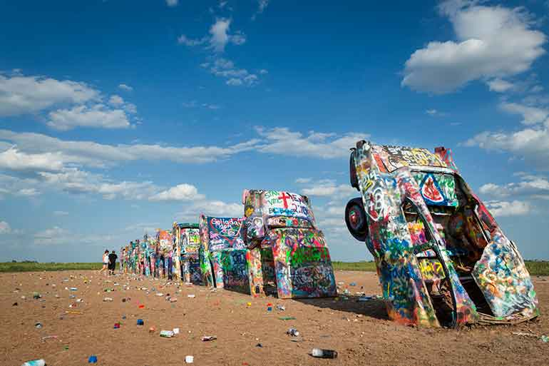 city of amarillo famous cadillacs partially buried in ground