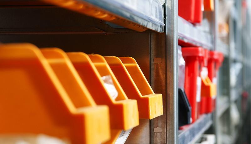 commercial storage unit bins on shelves