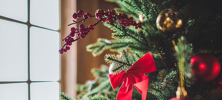 decorations on Christmas tree close up