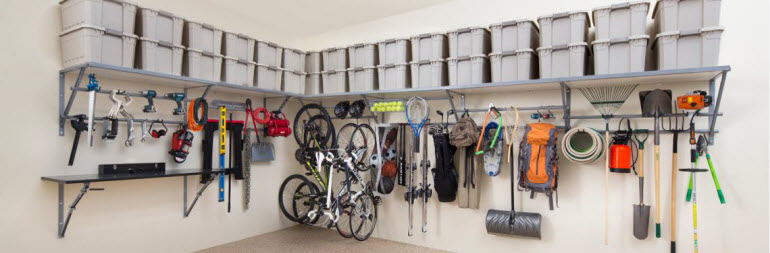garage storage - monkey bar shelving