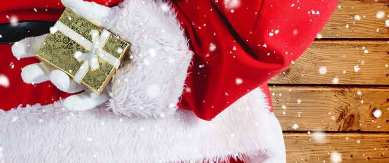 Santa hiding a present