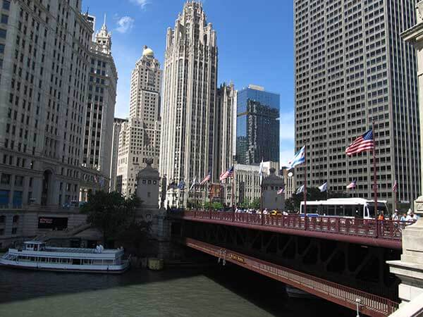 photo of chicago skyscrapers from the michigan avenue bridge on the chicago river
