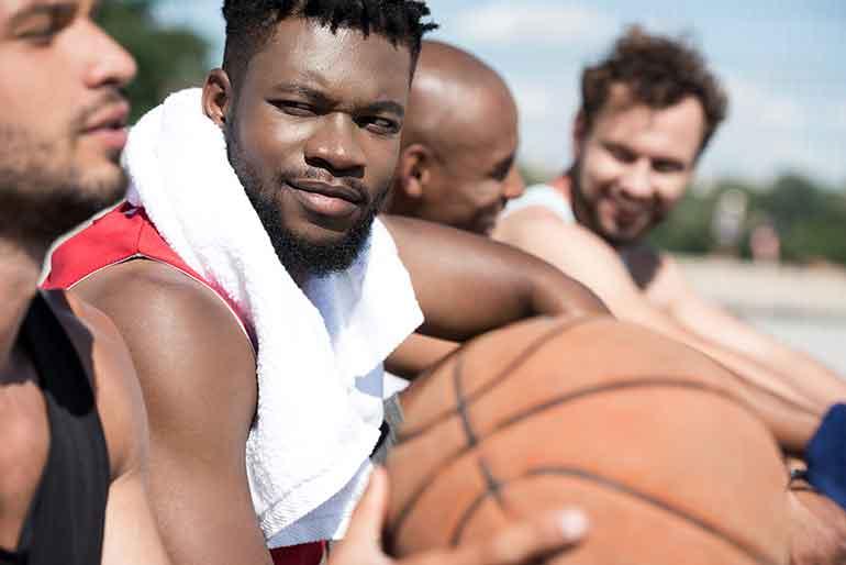 guys playing basketball in the Atlanta Suburbs