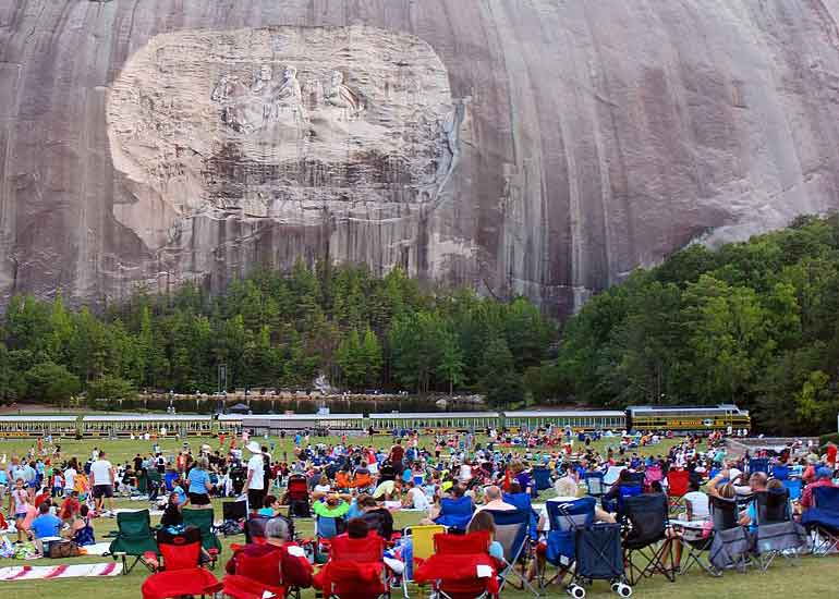 crowds visit stone mountain park in the Atlanta Suburbs