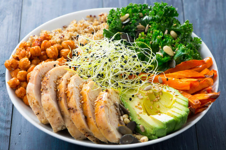 moving day meals concepts buddha bowl with turkey and veggies