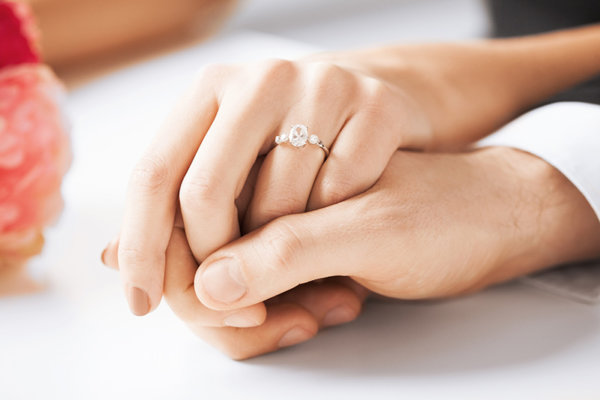 close up of hands wearing a wedding ring
