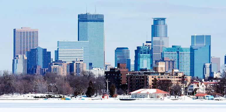 winter in Minneapolis skyline