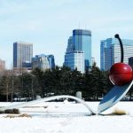 winter in Minneapolis downtown skyline view from sculpture garden
