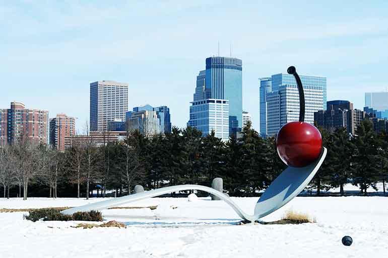 winter in Minneapolis downtown skyline view from sculpture garden