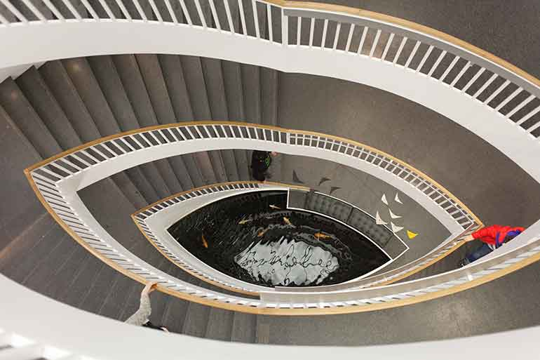 Birds eye view of staircase at the Chicago Contemporary Art Museum