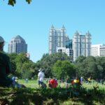 Park in Atlanta with the Atlanta skyline in the background.