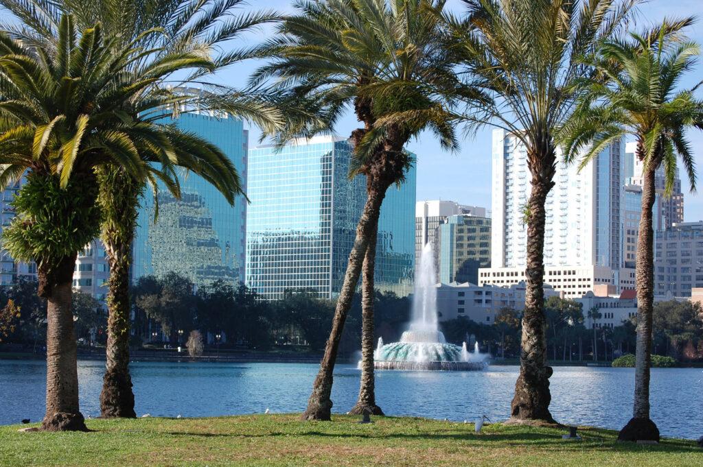 Orlando skyline from lake Eola.